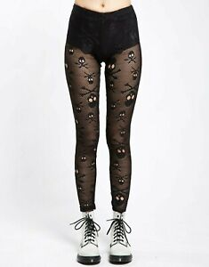 Tripp NYC Black Skull Net Leggings Fishnet Goth Punk Emo Egirl Alt EK4920