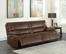 SADDLE BROWN TOP GRAIN LEATHER MATCH POWER RECLINING SOFA LIVING ROOM FURNITURE