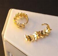 Women Round Leaf Crystal Huggie Dangle Rhinestone Hoop Ear Stud Earrings Jewelry