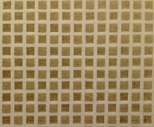 """SQUARES CHENILLE BEIGE CHECKER CHECK JACQUARD MULTIUSE FABRIC BY THE YARD 55""""W"""