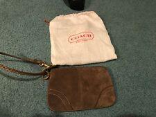 COACH Brown Suede Wristet Wallet, Brand New
