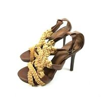 Tory Burch Womens Fleur Jute Rope and Leather Sandals Heels - Natural Size 9M