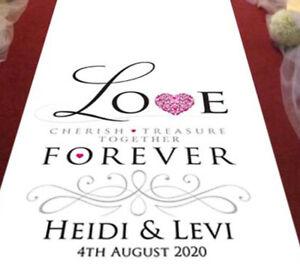 Personalised WEDDING AISLE RUNNER. Church/Venue Carpet Decoration. 15ft - 30ft