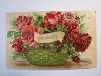 Postcard Birthday Greetings York PA Wilson Floral Embossed Roses Antique 1618