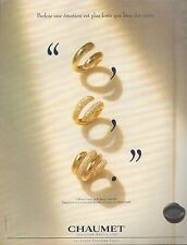 ▬► PUBLICITE ADVERTISING AD CHAUMET Bijoux Joailler Collection Tango bagues 1994