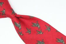VTG Brooks Brothers Silk Wool Neck Tie Red Brown Flying Duck Motif USA Soft Feel