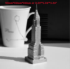 ZLPZMX54 1pc  Mini Silver Metal DIY 3D Jigsaw Puzzle Model Chrysler Building NEW