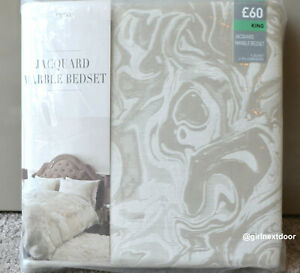 NEXT KING SIZE DUVET COVER JACQUARD LUXURIOUS MARBLE BEDSET 452 NEW