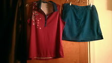 NWT Ladies CALLAWAY GOLF TENNIS OUTFIT Skort Skirt Short Sleeve size XL 12 14