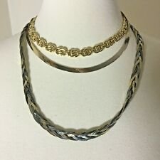Vintage Jewelry Wearable Necklaces Herringbone Braided Link Serpentine Gold Tone