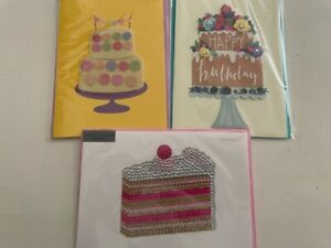 3-Papyrus Tiered Birthday Cake Blinged Crystal Glitter Card Lot Judith Leiber