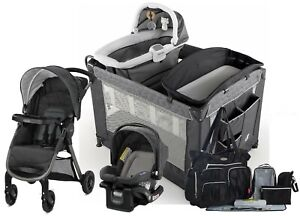 Graco Newborn Baby Travel System with Infant Car Seat Playard Crib Bag Set
