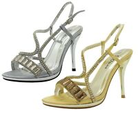 WOMENS LADIES GIRLS ANKLE STRAP HIGH HEEL PEEP TOE DIAMANTE SANDALS SHOE SIZE 3-
