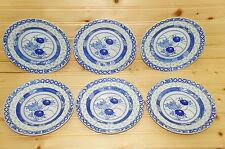 """Blue & White Porcelain Rice Eyes-(6)  Dessert  Bread & Butter Plates 6 1/4"""" (L)"""