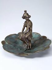 François-Raoul Larche Art Nouveau Bronze Nymph Woman on Lily Pad