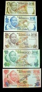Bank of BOTSWANA 1/2/5/10/20 PULAS SPECIMEN Banknotes Uncirculated SET (624)