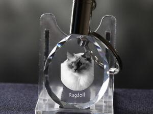 Ragdoll-Katze, Katze Kristall rund Schlüsselbund, Crystal Animals DE
