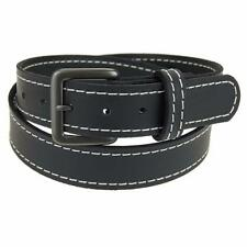 "Buffalo Leather Stitched Belt_1 1/2""_Gun Metal Finish Buckle_Amish Handmade"