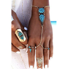 Beach Boho Turquoise Bead Chain Slave Hand Harness Bracelet Finger Ring Jewelry