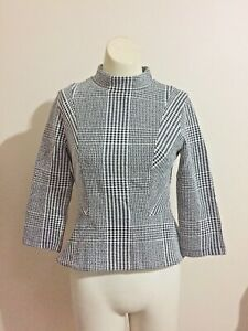Cue City Black White Check Suit Jacket Zip Panelled Career Crop Cotton Top Coat