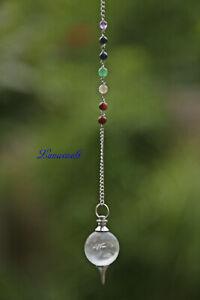 7 Chakra Edelstein Kugel Pendel mit Bergkristall