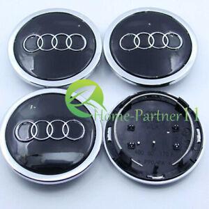 For AUDI Black 4*69mm Wheel Cover Hub Center Caps Emblems Badges Logo 4B0601170A