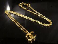 Authentic Chanel Coco Mark CC Logo Pendant Necklace Gold-Tone Q438