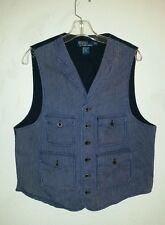 Vtg Train Conductor Style POLO by RALPH LAUREN Size L Vest Cotton Blue  Striped