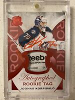 Joonas Korpisalo The Cup RPA Tag /8 Rookie Patch Auto 2015-16