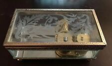 Vintage Yunsheng Etched Glass Vintage Music Jewelry Box works
