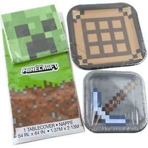 Minecraft Birthday Party Supplies 16 Plates and Napkins 1 Tablecover Axe