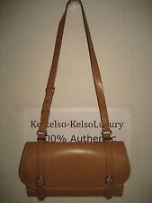 Trussardi Brown Smooth Italy Leather Small Shoulder Bag Silvertone Logo Handbag
