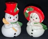 VINTAGE LEFTON CHRISTMAS CERAMIC SALT & PEPPER SHAKERS - SNOWMAN & SNOWLADY