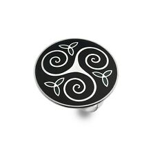 Celtic Triskele and Trinity Knot Black Enamel Scarf Ring from Sea Gems