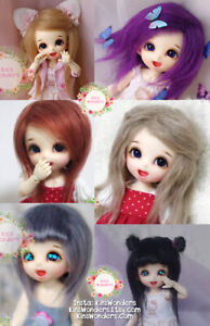 50/% promo doll wig t10 33 cm 100/% hair mid-long chatain-roux