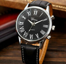 Mens Geneva Roman Numerals Black Leather Casual Luxury Business Wrist Watch Box