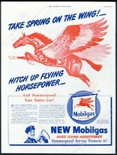 1946 Pegasus flying horse art Mobil Gas Spring on the Wing vintage print ad