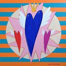 "Dimitris C. Milionis ""POP HEART"" Original Acrylic Painting Signed Greek 2016"
