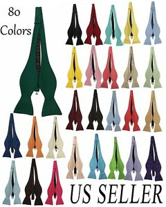 Men's Self tie Bowtie Quality adjustable neck band Satin Solid Pattern Colors US