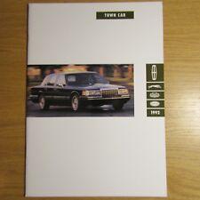 LINCOLN TOWN CAR 4.6 V8 Sedan USA American Market Brochure July 1991 for 1992