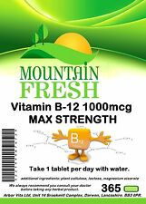 Vitamin B-12 1000mcg 1 A DAY 365 TABLETS 1 YEAR SUPPLY  FREE FAST UK Delivery
