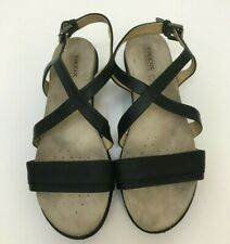 GEOX Women's Black Leather Abbie Wedge Sandals, Size 39.5