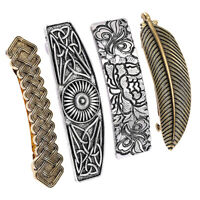 Lot de 4 porte-barrette nordique Viking pince à cheveux en métal celtique