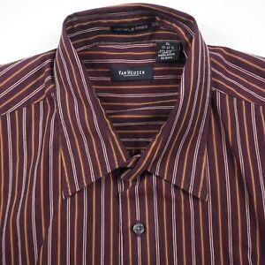 Van Heusen Burgundy Maroon Men's XL 17-17.5 Striped Button Up Short Sleeve Shirt