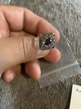 Romilly  Amethyst Rhodium Plate Ring Size 8