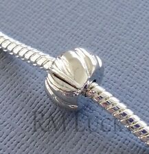One Silver Tone Bead Stopper Clip Lock clasp Fits European Charm Bracelet C50