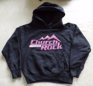 boys girls CHURCH ON THE ROCK religious HOODIE SWEATSHIRT TOP fall winter wear @