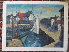 """Vintage SILK SCREEN of FISHING COVE,Harry SHOULBERG,Signed,1946, 18 1/2x 24 3/4"""""""