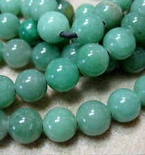 "Green Aventurine 12mm Round Large 2mm Hole Beads 8"" Leather Cord Wrap DIY Design"