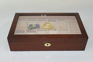 wooden watch display box(10 watches holders) - with ring holder  W306